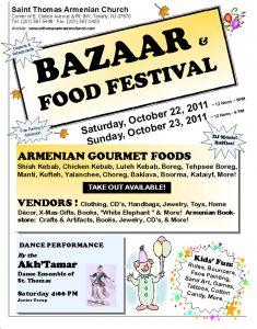 St. Thomas Armenian Church in Tenafly – Bazaar Saturday and Sunday Oct 22-23