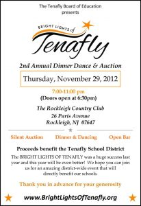 Tenafly Board of Education is hosting an evening of dinner and dancing ito raise funds for our schools.