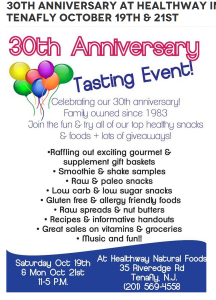 30th Anniversary at Healthway in Tenafly October 19th & 21st