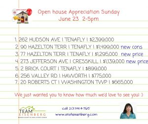 Team Eisenberg Open Houses Sunday 6/23